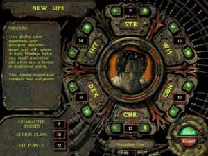 Character generation in Planescape: Torment