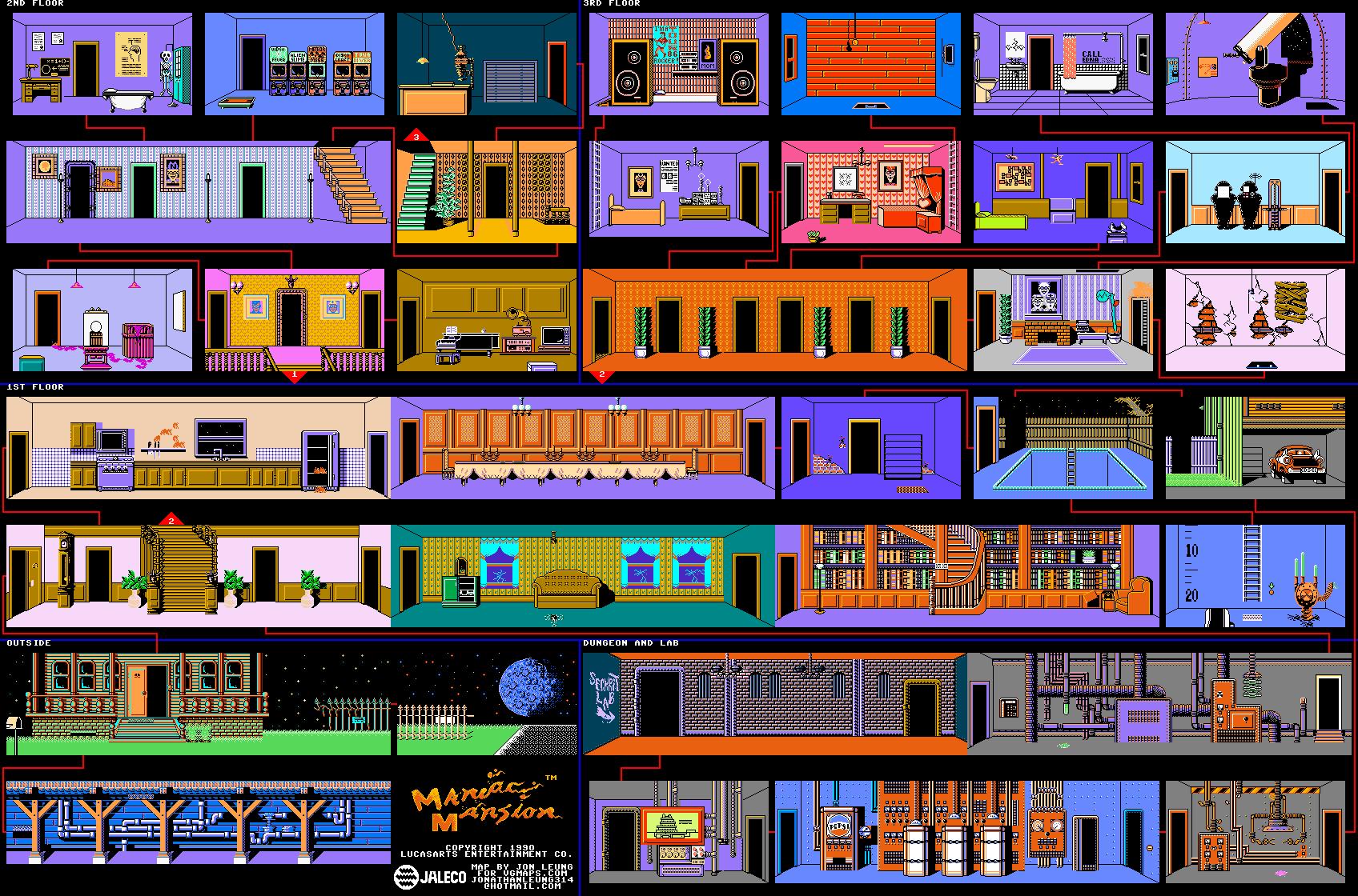 Maniac Mansion game map (NES)
