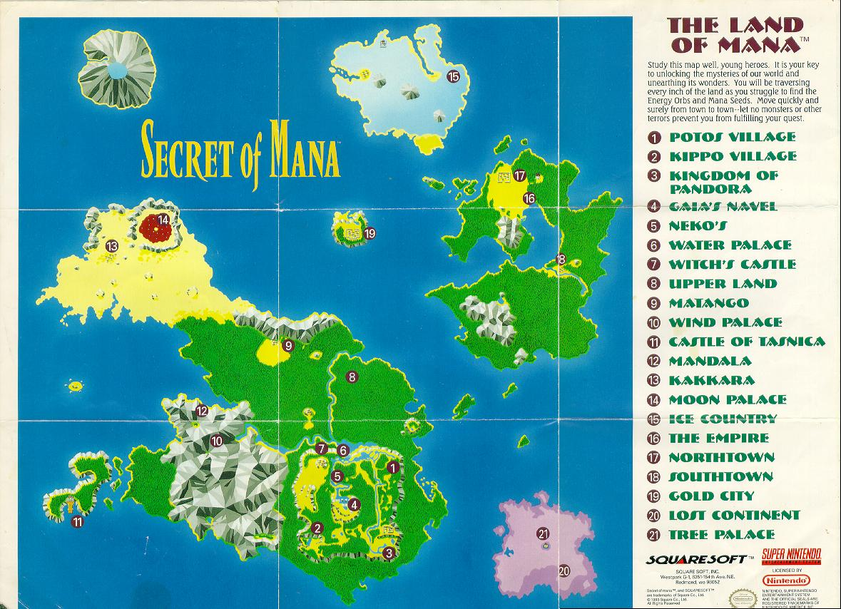 Retrogaming Game Maps The Secret of Mana SNES Recycled Thoughts from a